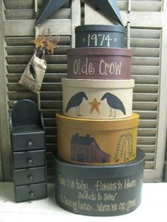 Primitive Olde Crow Oval Shaker Boxes. Hand painted by Heidi @ Gainers Creek Crafts.  A PRIM Perfection! <3