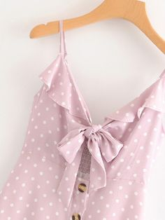 Button Through Knot Polka Dot Cami Dress Pink Outfits, Cool Outfits, Cute Blouses, Short Tops, Skirt Pants, Pink Fashion, Ruffle Trim, Short Skirts, Dresses Online