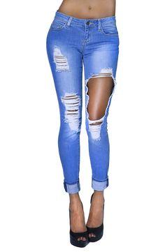 Womens Fashion Vintage Distresses Ripped Twill Skinny Jean (SIZE : 5, DENIM-JBWV14298)
