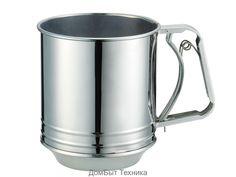 РН-12708 Сито-кружка для мукиВысококачественная нержавеющая сталь 18/10Легко чиститсяПригодна для чистки в посудомоечной...