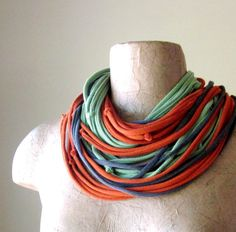 KNOTS cotton jersey scarf necklace in gray asparagus