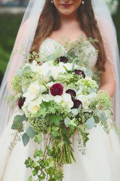 Lindse + Andy : A Gabrella Manor Wedding : Purple, white, green bride's bouquet