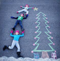 A great Christmas card idea!   Sidewalk Chalk Art.