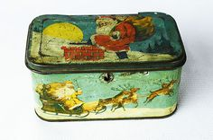 Antique Tin Candy Container - Santa / Christmas - Vintage Tin Deco Pail