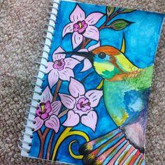 Hummingbird! Watercolor on paper.