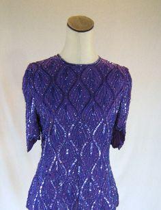 Vintage Purple sequin top blouse Disco Fashion, Sequin Top, Sequins, Dresses With Sleeves, Trending Outfits, Purple, Blouse, Long Sleeve, Unique