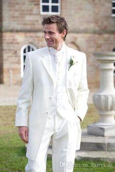 white tuxedos for men ivory men suits 3 pieces wedding suits for men groomsmen suit notched lapel groom wedding suits jacket+pants+vest+tie
