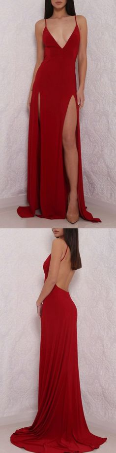 Charming Prom Dress,Sexy Prom Dress,Simple Backless Slit Side