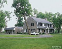 Badgley Mischka - limestone-and-clapboard Dutch Colonial Revival (Elle Decor) Stone Farms, Dutch Colonial, Gambrel, Elle Decor, Badgley Mischka, Interior And Exterior, Interior Design, Beautiful Homes, 1920s