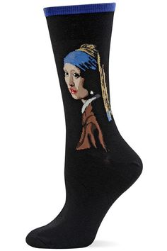 d4be8c14678 Art socks for women feature Vermeer s Girl with a Pearl Earring and have  real 3-