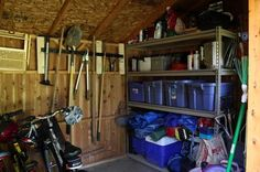 Organized shed for gardening and yard tools, holiday storage and more {featured on Home Storage Solutions 101}