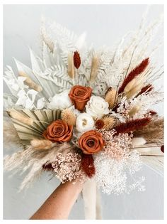 Orange Wedding Flowers, Floral Wedding, Fall Wedding, Burnt Orange Weddings, Wedding Ideas, Bouquet Bride, Flower Bouquet Wedding, Bridal Bouquet Fall, Rustic Bouquet