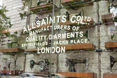 All Saint Spitalfields -- Love the storefront and in-store design.