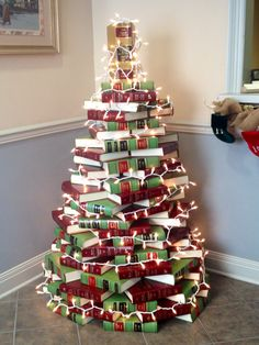 This tree's made out of a Law office's law books. You could use whatever books you have.