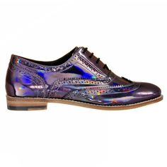 Lady's Brogue Shoes With Holographic Finish Luke Grant-Muller (€470) ❤ liked on Polyvore featuring shoes, oxfords, holographic shoes, brogue dress shoes, balmoral oxfords, brogue shoes and brogue oxford