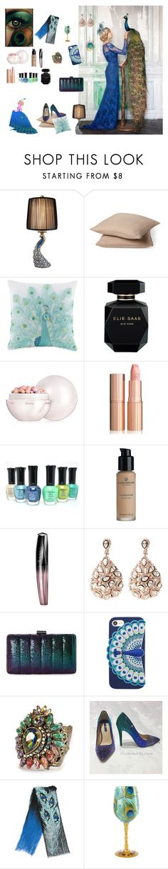 """Beacock lady"" by the-designerduchess ❤ liked on Polyvore featuring Nexus, Universal Lighting and Decor, Rodeo Home, Jessica Simpson, Elie Saab, Guerlain, Rimmel, Jessica McClintock, Kate Spade and Sweet Romance"