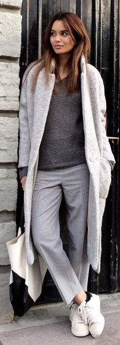 Grey Long Line Coat