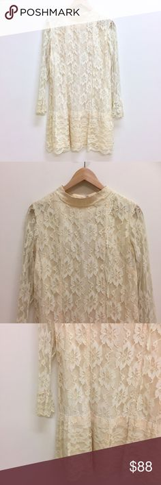 """Vintage cream lace 60s long sleeve shift dress Vintage 60s cream ivory lace drop waist mid shift dress. Bell lace cuffs. Scalloped hem Zips down the back. So freakin cute. Best fits a XS or a Small at 18"""" pit to pit and 35"""" long. Great condition for age. Modest yet chic. Wear it to a wedding or for your own! vintage lace vintage wedding vintage bride vintage bridesmaid vintage easter vintage honeymoon vintage bridal shower vintage bachelorette vintage wedding dress Vintage Dresses"""