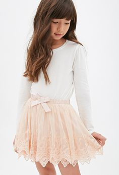 Layered Floral-Embroidered Skirt (Kids) | FOREVER 21 - 2000080767