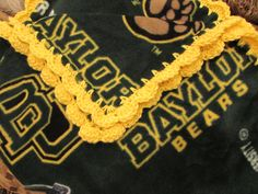 Baylor University Texas BU Bears College Fleece Baby Blanket With Crochet Ruffle - Baby/Toddler Girl or Boy - Green & Gold - Wrap-Around by UnhungHarps on Etsy