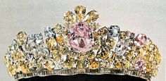 The Noor-ol-Ain - Eye of Light - tiara, part of the the Iranian Crown Jewels, set with a pink diamond weighing 60.00 carats that is believed to originate from the ancient Golconda mines in India.