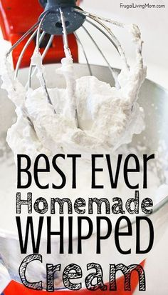 The Easiest Homemade Whipped Cream - Frugal Living Mom The Easiest Homemade Whipped Cream - Frugal Living Mom Homemade Whipped cream is so good, and when it is this easy why get the can?<br> The Easiest Homemade Whipped Cream Making Whipped Cream, Homemade Whipped Cream, Whipped Cream Frosting, Whipped Topping, Cool Whip Frosting, Australian Pavlova, Köstliche Desserts, Dessert Recipes, Parfait Desserts