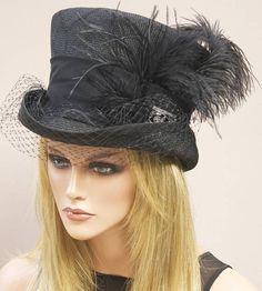 Woman's Black Hat Ascot Hat Derby Hat Black Top Hat