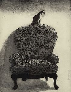 """""""The Outside Cat""""    - Fine art etching  - Cat"""
