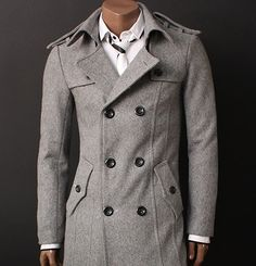 Amazon.com: Doublju Mens Double PEA Wool Half Trench Coat(868 ...