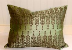 Sage Green Velvet Pillow Cover -J P Martin Velvet - Decorative Ikat throw pillow -20 x 20 inch ...