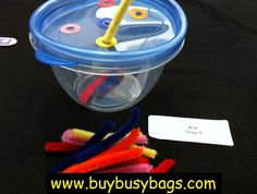 busy bag activities (fine motor/color match):  toddler activities, elementary student activities---on level, below level, above level, special needs