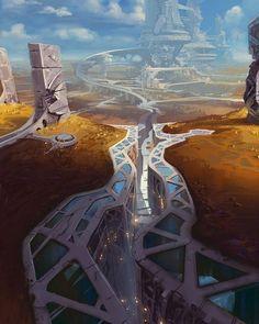 New Landscape Concept Art Sci Fi Science Fiction Ideas Fantasy Kunst, Fantasy City, Fantasy Places, Fantasy World, Sci Fi Fantasy, Arte Sci Fi, Sci Fi Art, Concept Art Sci Fi, Futuristic City