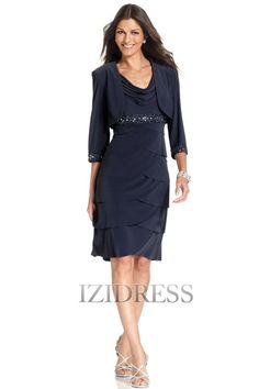 Sheath/Column Cowl Knee-length Jersey Mother of the Bride Dress