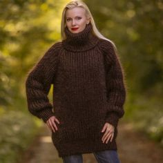Hand knit ribbed mohair sweater in brown