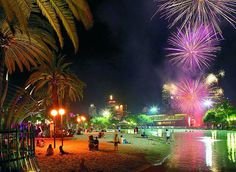 The lagoon and beach at Southbank - Brisbane, Australia - during the fireworks.  I remember when this was the World Expo '88 site!