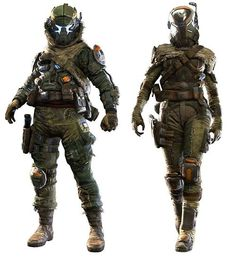 View an image titled 'Assault Militia Pilot Art' in our Titanfall art gallery featuring official character designs, concept art, and promo pictures. Female Pilot, Female Armor, Cyberpunk, Armor Concept, Concept Art, Character Concept, Character Art, Character Ideas, Combat Armor