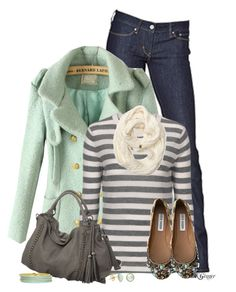 """A Minty Gray Day"" by kginger on Polyvore featuring Levi's, Steve Madden, Melie Bianco, Roxy and Isharya"