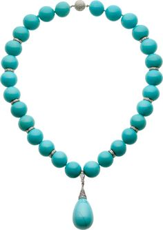 Turquoise, Diamond, White Gold Necklace. ... Estate | Lot #59109 | Heritage Auctions