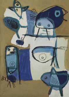 Karel Appel (Netherlands 1921-2006)Figure and birds (1949)gouache on paper 73 x 54 cm