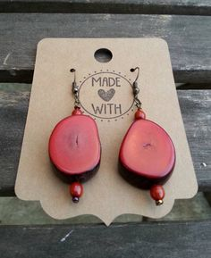 Tagua Earrings  Red Chunky Tagua Slice by SpareRoomStationery