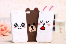 2014 NEW ARRIVAL FREE SHIPPING 3D CUTE WHITE RABBITS BROWN BEAR SILICONE RUBBER CARTOON CASE FOR IPHONE5 5S