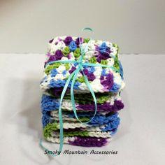 Set of three Crochet Dish Cloth in Purple Blue and Lime | SmokyMountainAccessories - Crochet on ArtFire