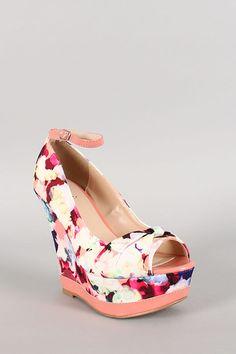 Qupid Floral Ankle Strap Peep Toe Wedge
