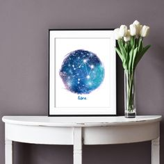 Bring the constellations stars to any wall with this affordable art. Just download and print!  #libra #zodiacsigns #constellations #cheaphomedecor #affordableart Libra Art, Zodiac Art, Libra Constellation, Zodiac Constellations, Zodiac Signs Astrology, Zodiac Capricorn, Blue Bedroom Decor, Printable Star, Affordable Art