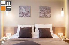 Pomysł na aranżację ściany za łóżkiem pomysł na ciekawe wnętrze sypialni - zdjęcie od jms STUDIO s.c. - Sypialnia - Styl Nowoczesny - jms STUDIO s.c.