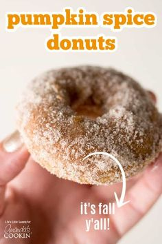 These Pumpkin Spice Donuts are moist, baked, cake donuts and can be topped with a pumpkin spice – sugar mixture and/or a maple glaze. Enjoy them with coffee or tea on an Autumn day! (makes donuts) Pumpkin Recipes, Fall Recipes, Thanksgiving Recipes, Donut Recipes, Cooking Recipes, Coffee Recipes, Baked Donuts, Doughnuts, Donut Muffins