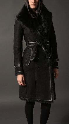 Long Shearling Trench Coat | Burberry Item 38410191