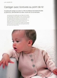 Baby knitwear for beginners - Loulou & # s knitwear - Picasa Web Albums Knitting Patterns Boys, Knitting For Kids, Baby Patterns, Hand Knitting, Knitting Machine, Cardigan Bebe, Knitted Baby Cardigan, Knitted Baby Clothes, Tricot Baby