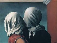 Image result for René Magritte's 1928 painting, The Lovers,