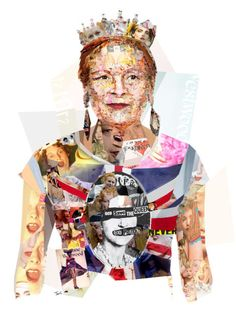 Vivienne Westwood: The Only Punk Left (by tsevis) Collage portrait of fashion designer Vivienne Westwood for Harper's Bazaar magazine (USA, Worldwide edition). You can read the article. Vivienne Westwood, Elsa Schiaparelli, Punk Rock, Mode Collage, Collage Art, Arte Punk, Pop Art, Collage Portrait, Portraits